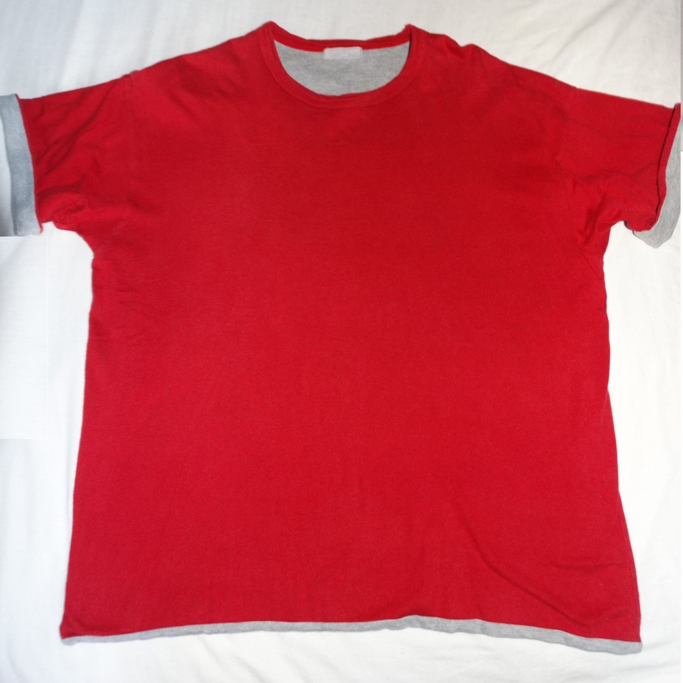 Comme Des Garcons Red Grey Tee Made In Japan