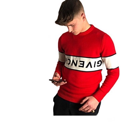 Givenchy Red And White Crewneck Jumper