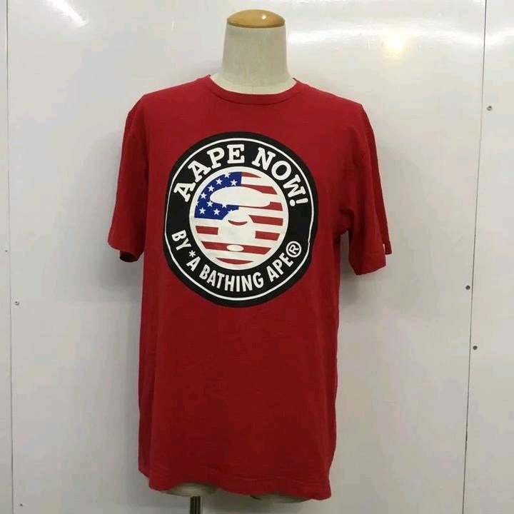 Bape Short Sleeve Red Printed Front Round Neck