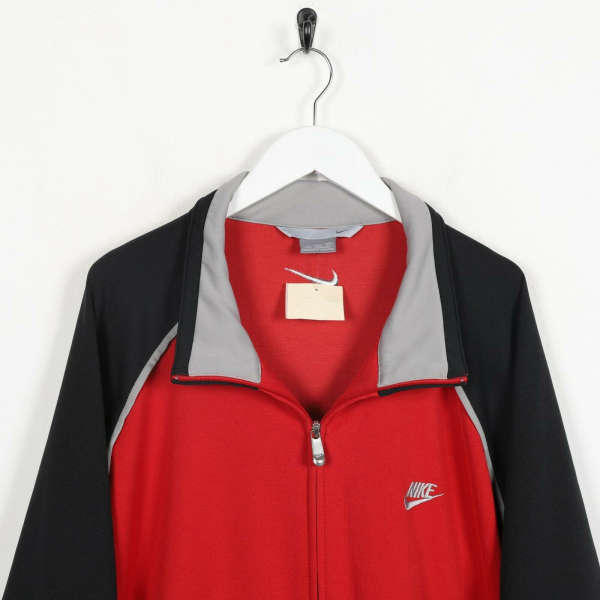 Vintage NIKE Small Logo Track Top Jacket Red 2XL