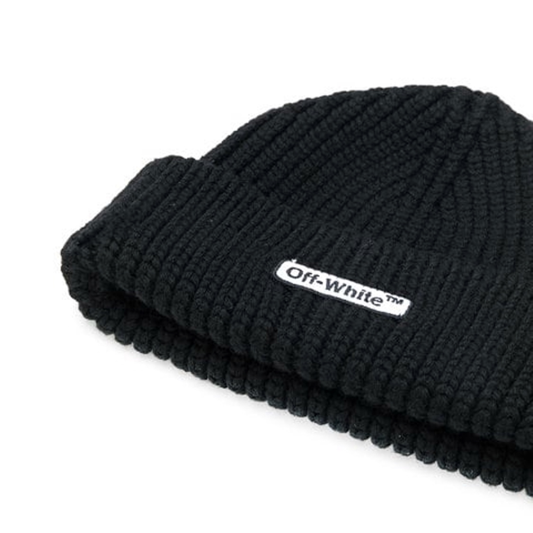 31e80da55 Off White Ribbed Logo Beanie New Black