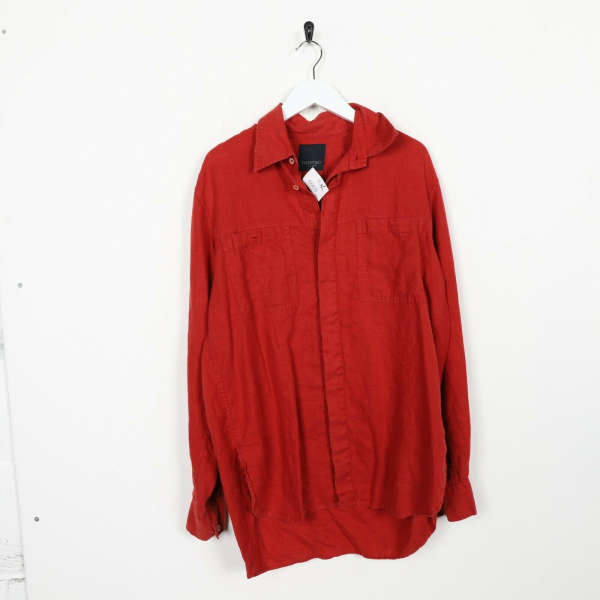Vintage VALENTINO JEANS Button Up Long Sleeve Shirt Red | XL