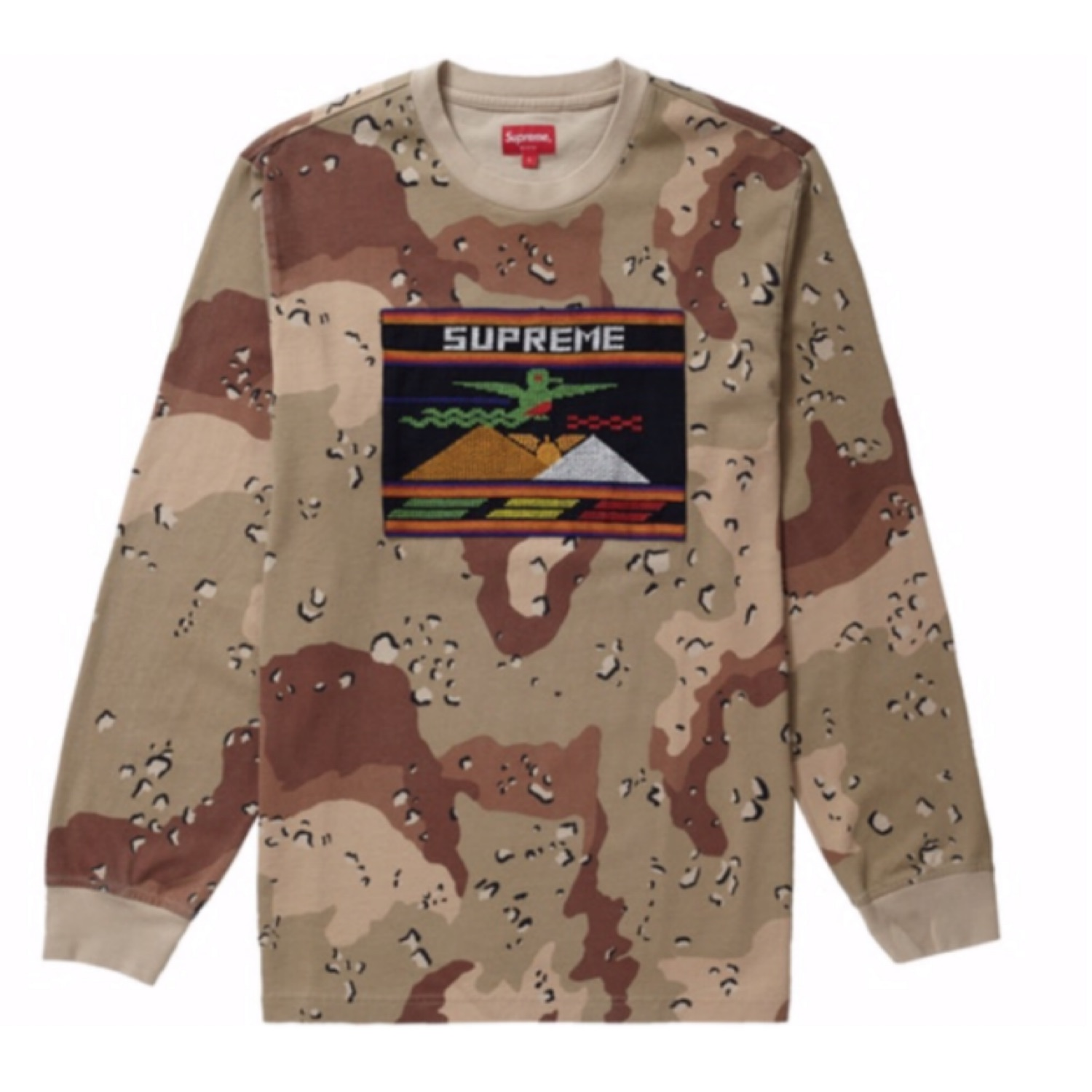 Supreme Needlpoint Patch L\S Shirt Camo