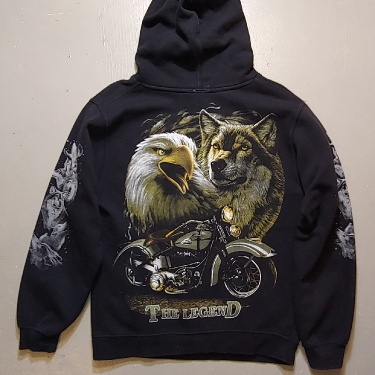 The Legend Eagle And Wolf Motorcycle Hooded Sweatshirt Size Small