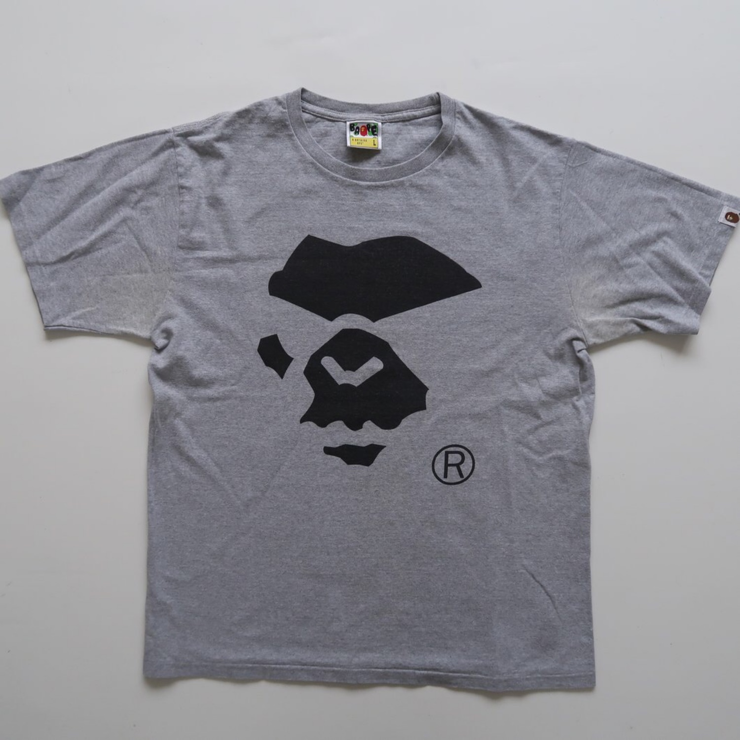 74933a71 Bape Mad Ape Face Tee Grey (Used - Large)