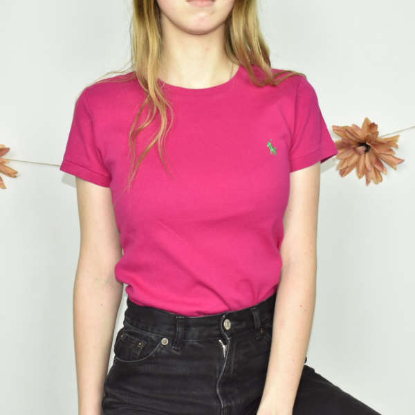Cute bright coloured Ralph Lauren top sweater t-shirt blouse in pink