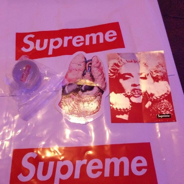 Supreme stickers and bouncy ball