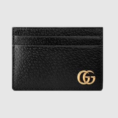 Gucci Gg Marmont Card Case With Money Clip Black