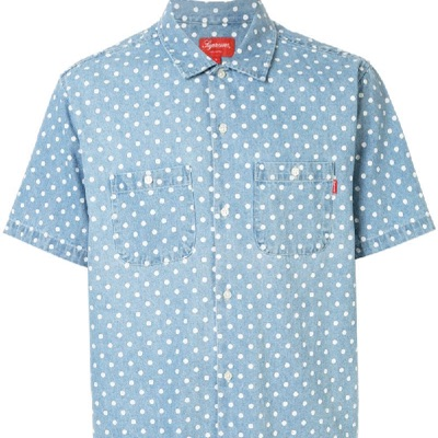 Supreme Polka Dot Blue Denim Shirt Summer Top Tee