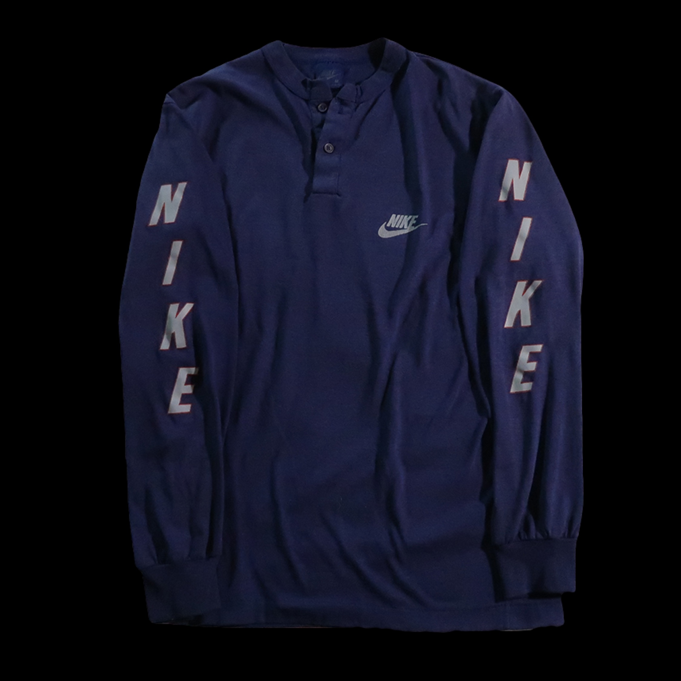 5afc535e3 Vintage Nike Navy Sleeve Spellout Long Sleeve