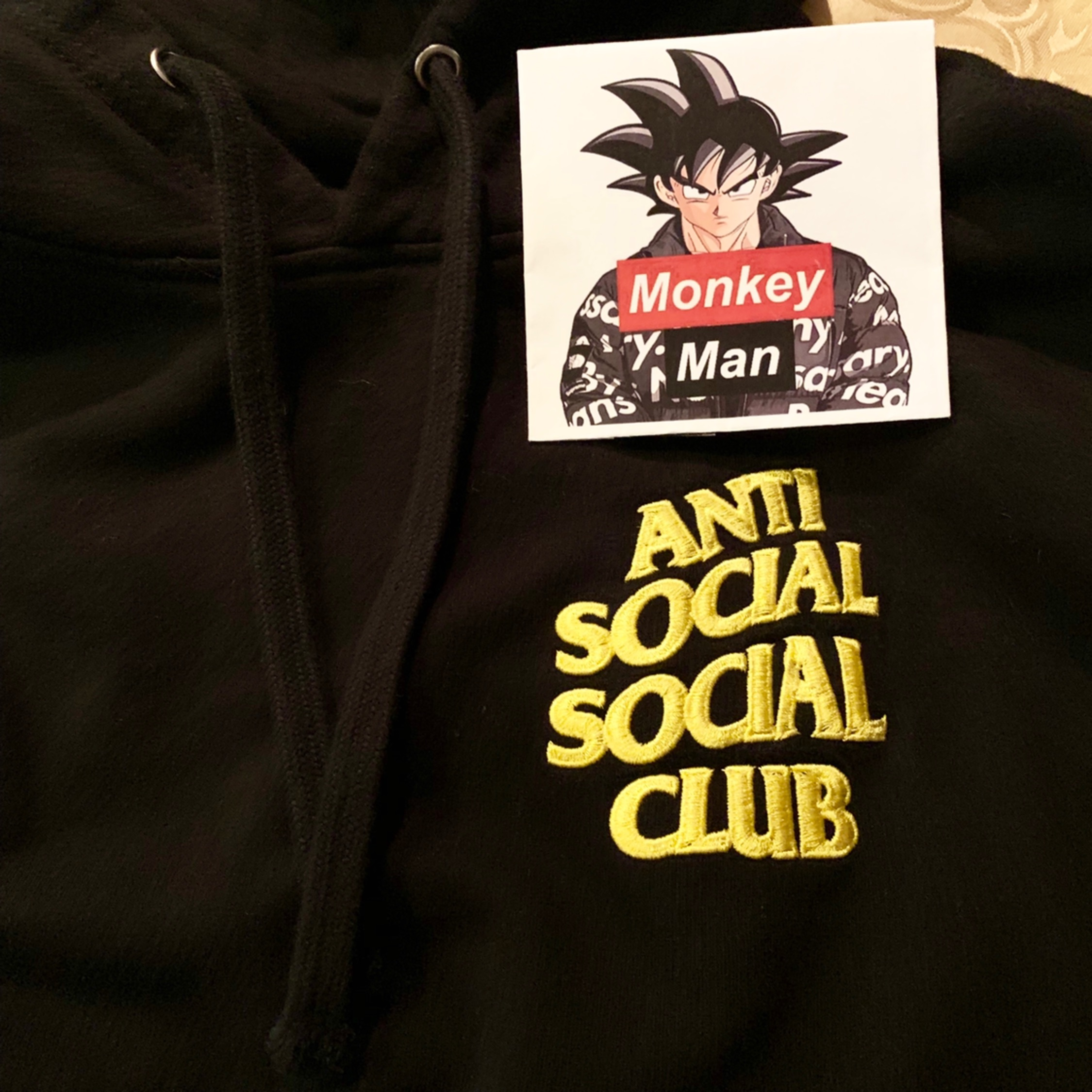 Anti Social Social Club Yellow Logo Hoodie Black S