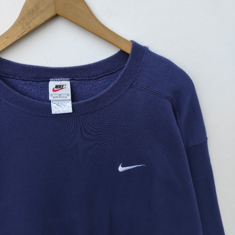 Vintage NIKE USA Swoosh Sweatshirt Sweater Pullover Jumper Small Logo Embroidery Hip Hop Swag Urban Streetwear XXL Size Rap tee Oversized