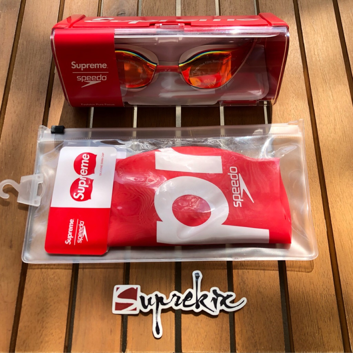 Supreme SS20 Speedo Swim Goggle & Cap Set Red
