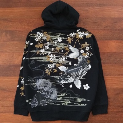 Cure All Sukajan Fish Koi Embroidery Zip Hooded