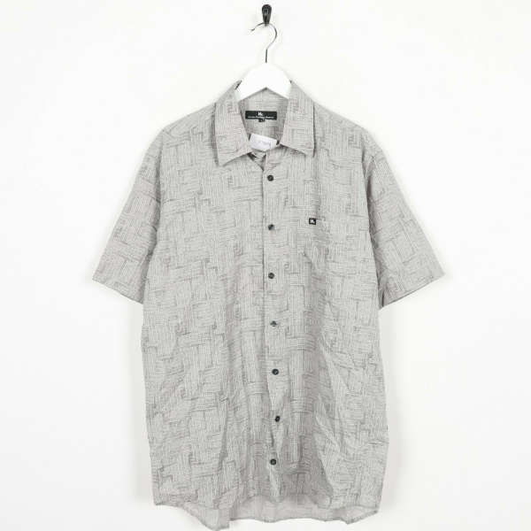 Vintage 90s Abstract Festival Party Shirt Grey | Large L