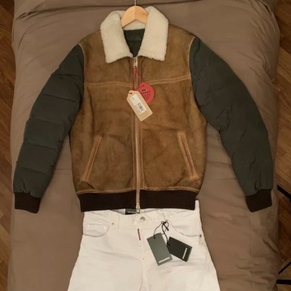 New Luxury Shearling Leather And Nylon Downjacket
