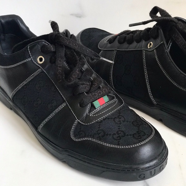 Gucci Black Canvas Supreme Gg Low Top Sneakers