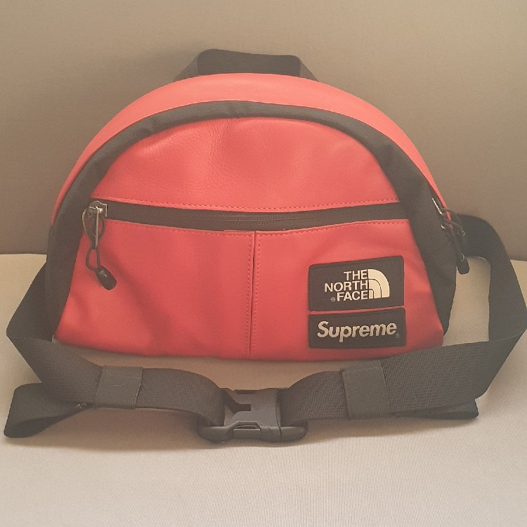 38080d89 Supreme x The North Face Red Leather Roo ll Lumbar Waistbag ...