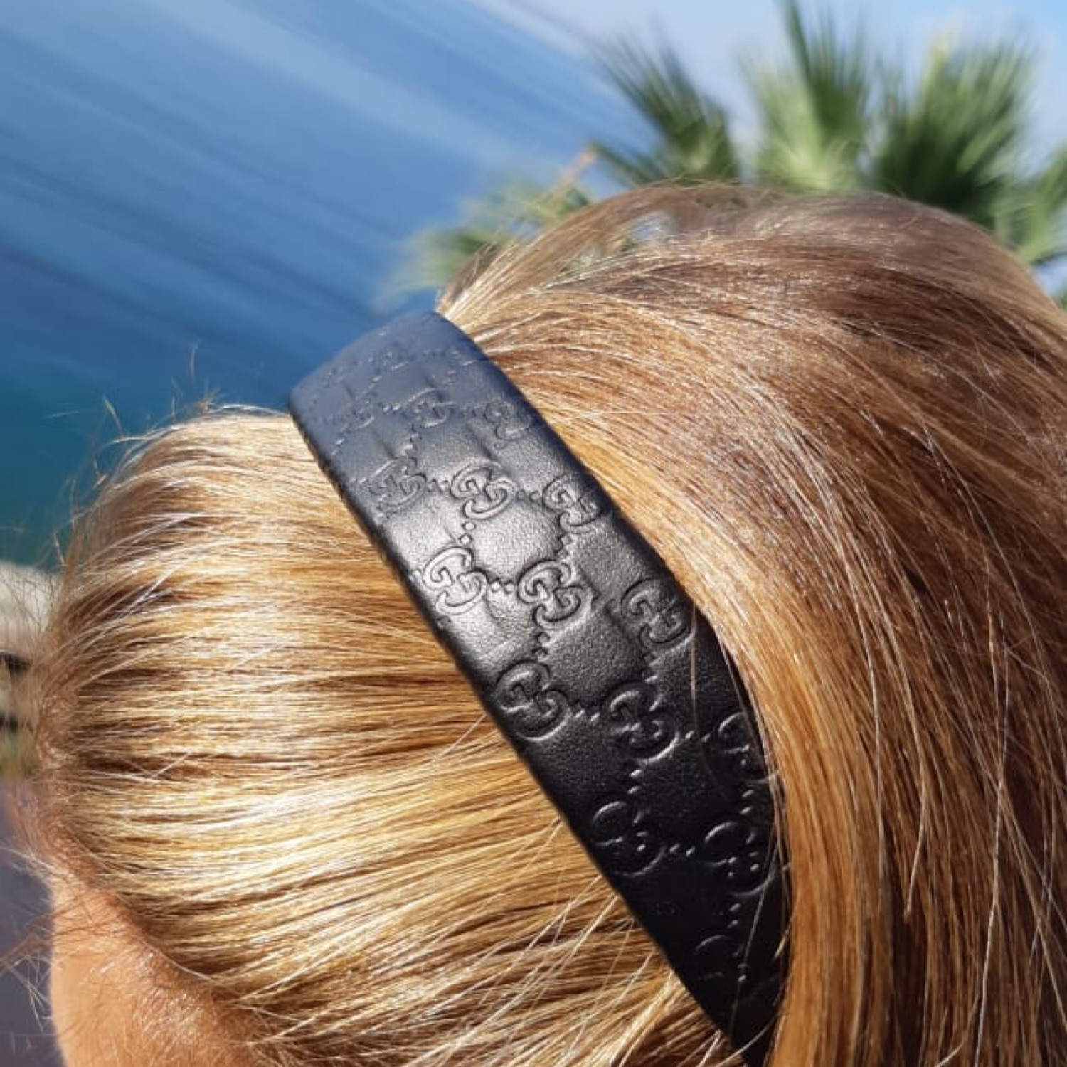 Authentic Leather Gucci Hair Band Black Access