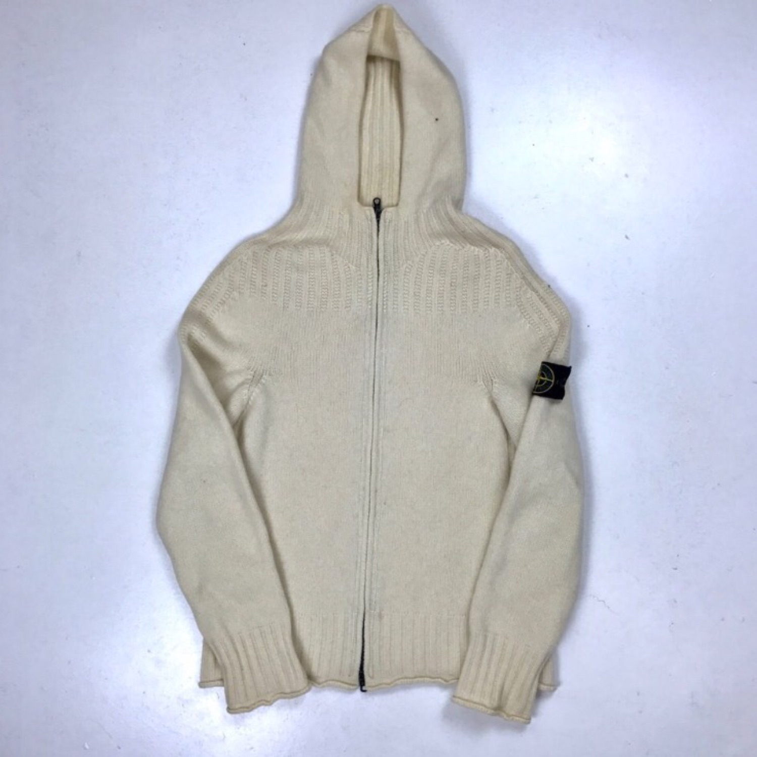 Stone Island AW2002 Zip Up Beige Hooded Jumper