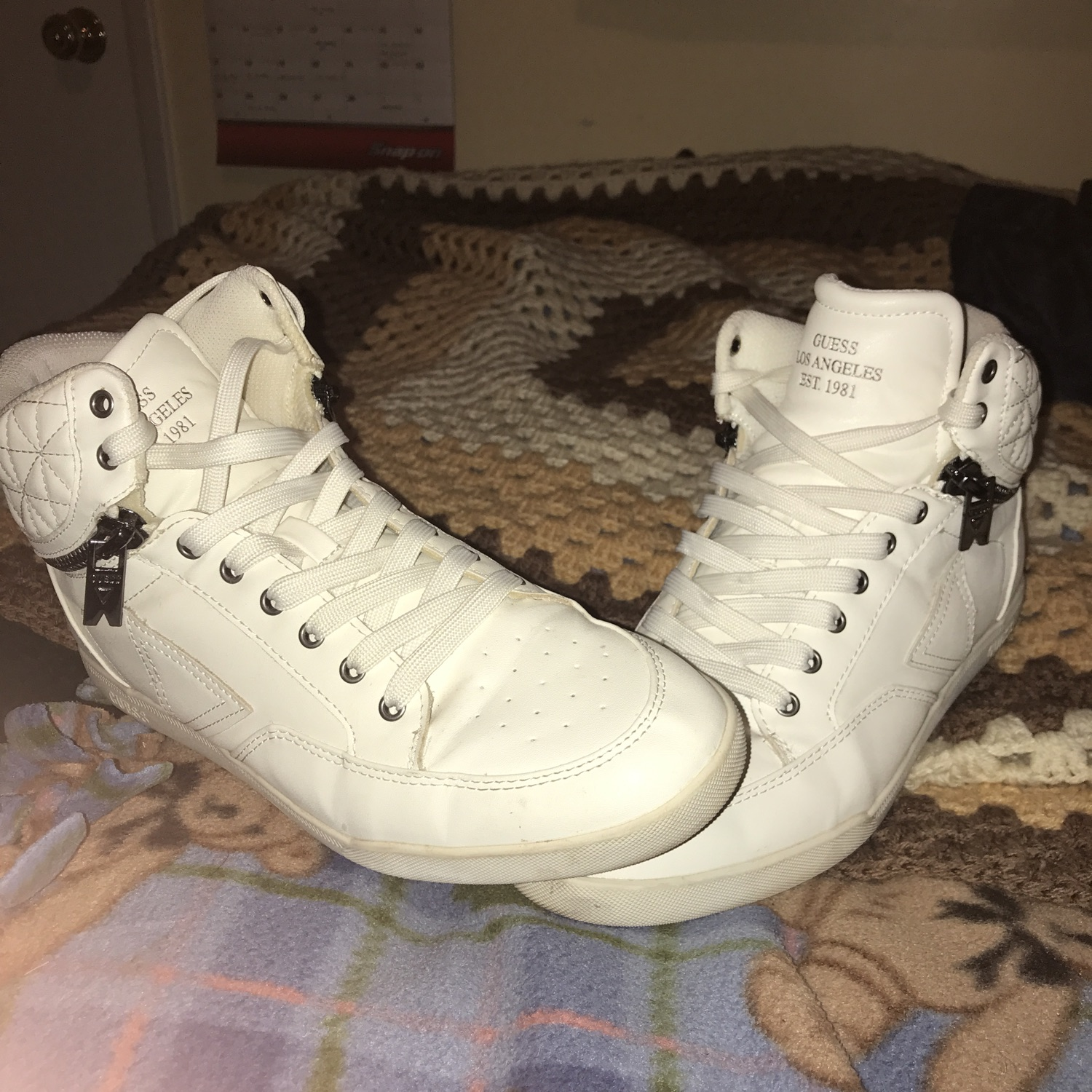 Guess White Leather Shoes