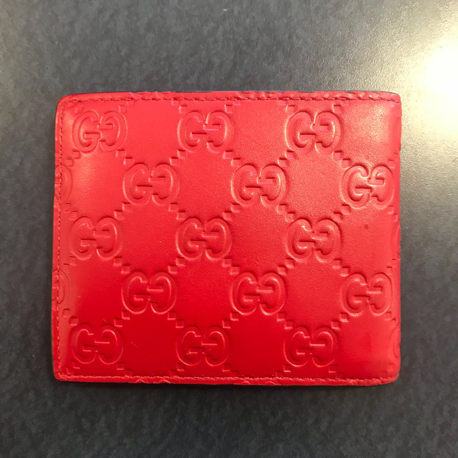 37276e648d1c44 Gucci Signature Wallet Leather- Red