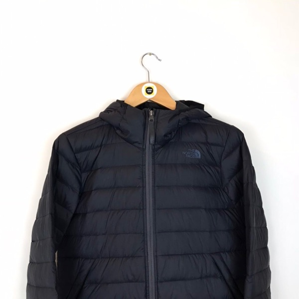 Vintage North Face Black Spellout Puffer Jacket