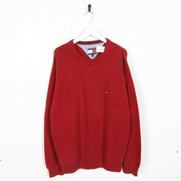 Vintage TOMMY HILFIGER Small Logo Knitted Sweatshirt Jumper Red | Medium M