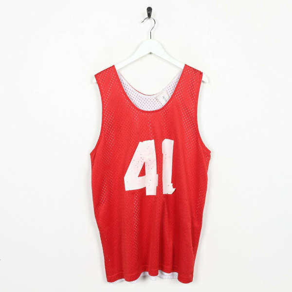Vintage USA College Reversible Vest Top T Shirt Red White | Large L