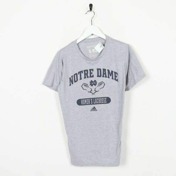 Vintage ADIDAS Notre Dame Women'S Lacrosse Big Logo T Shirt Tee Grey Small S