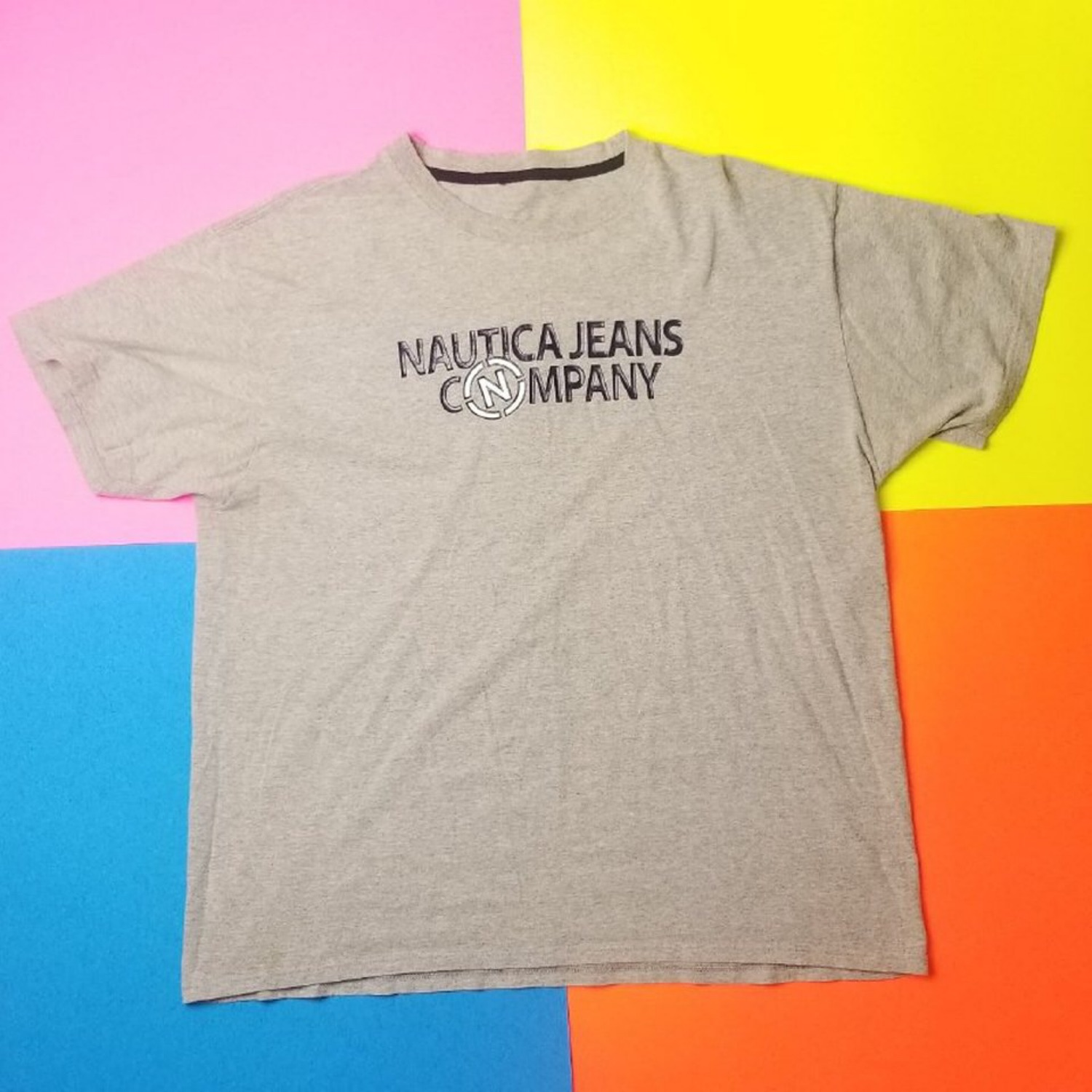 Vintage Nautica Jeans Company Spellout Logo Tee