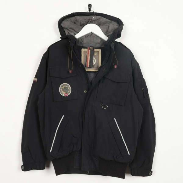 Vintage NAPAPIJRI Big Logo Padded Hooded Puffer Coat Jacket Black | Small S