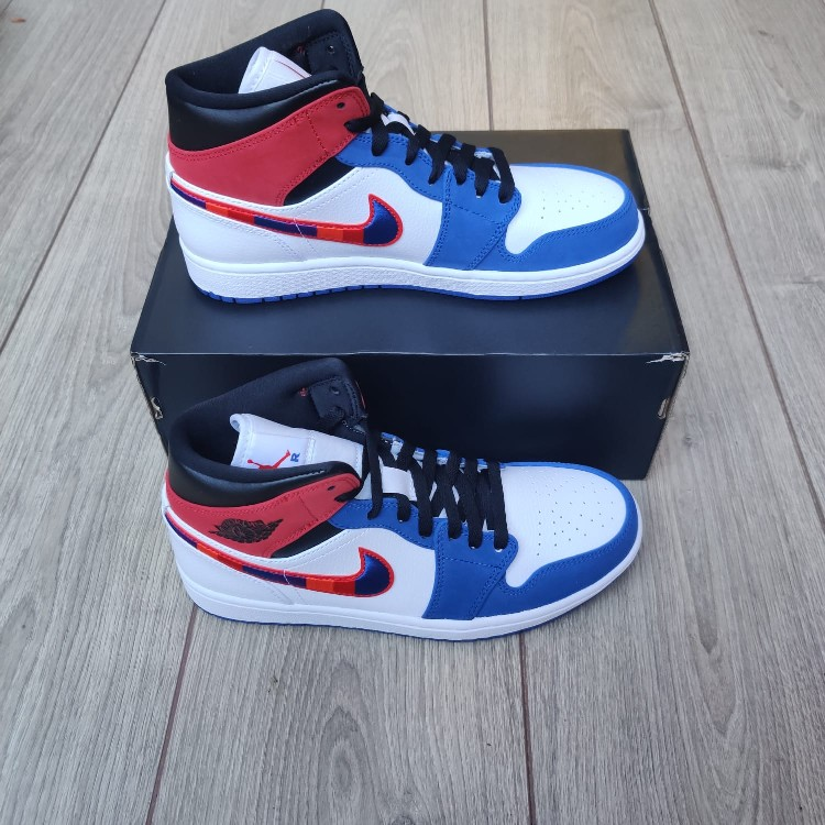 air jordan 1 mid blue red white