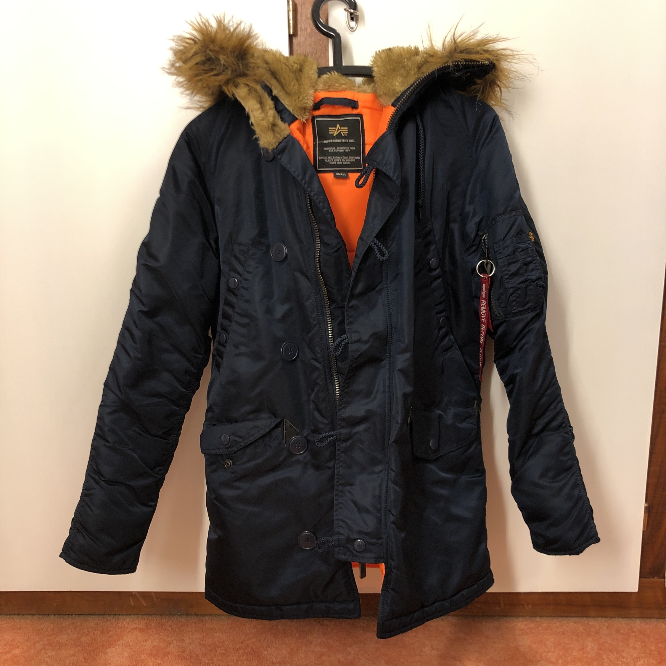 info for 518e8 be46b Alpha Industries N3B Vf 59 Parka Jacket Blue Small