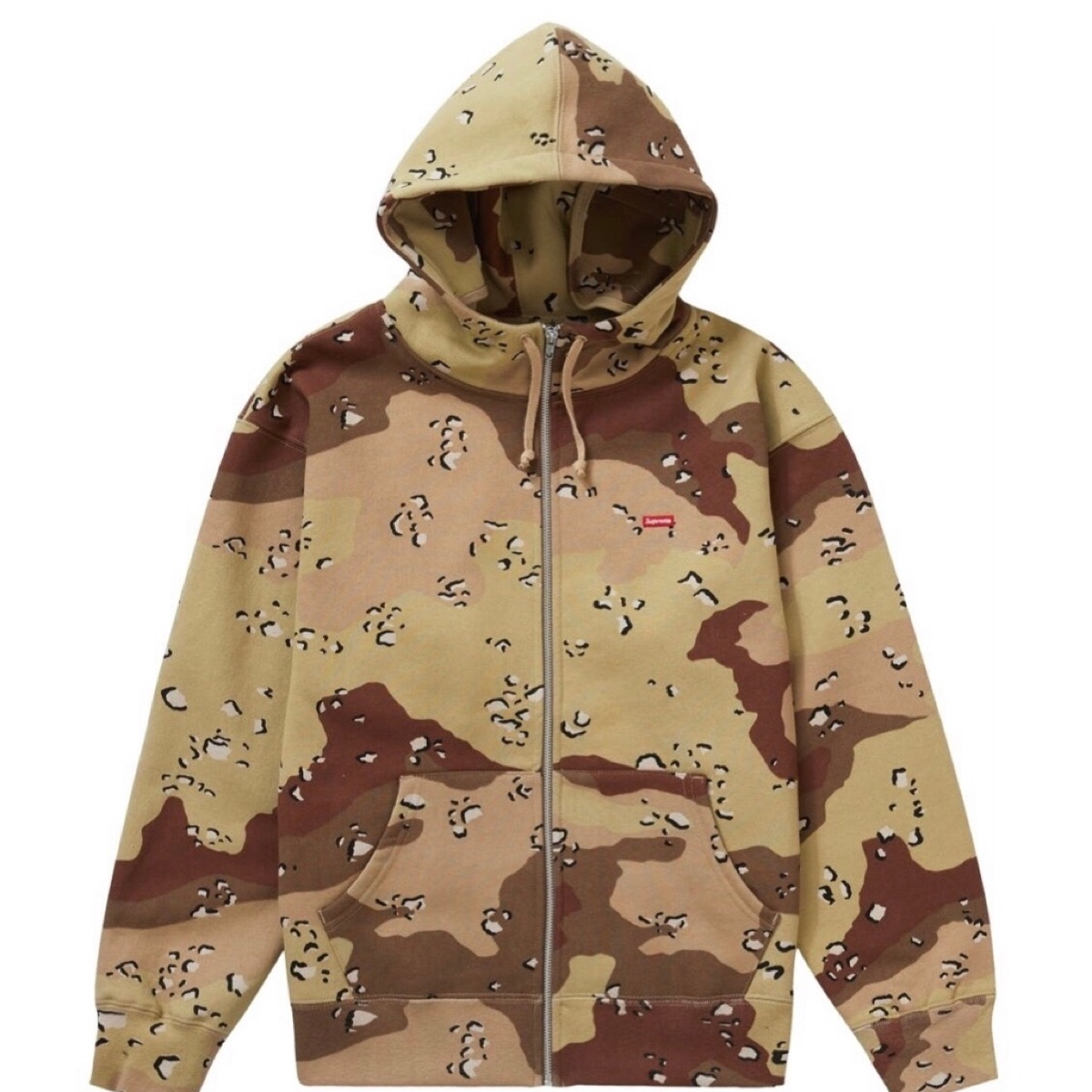 Supreme Small Box Facemask Zip Up Hooded Sweatshirt Chocolate Chip