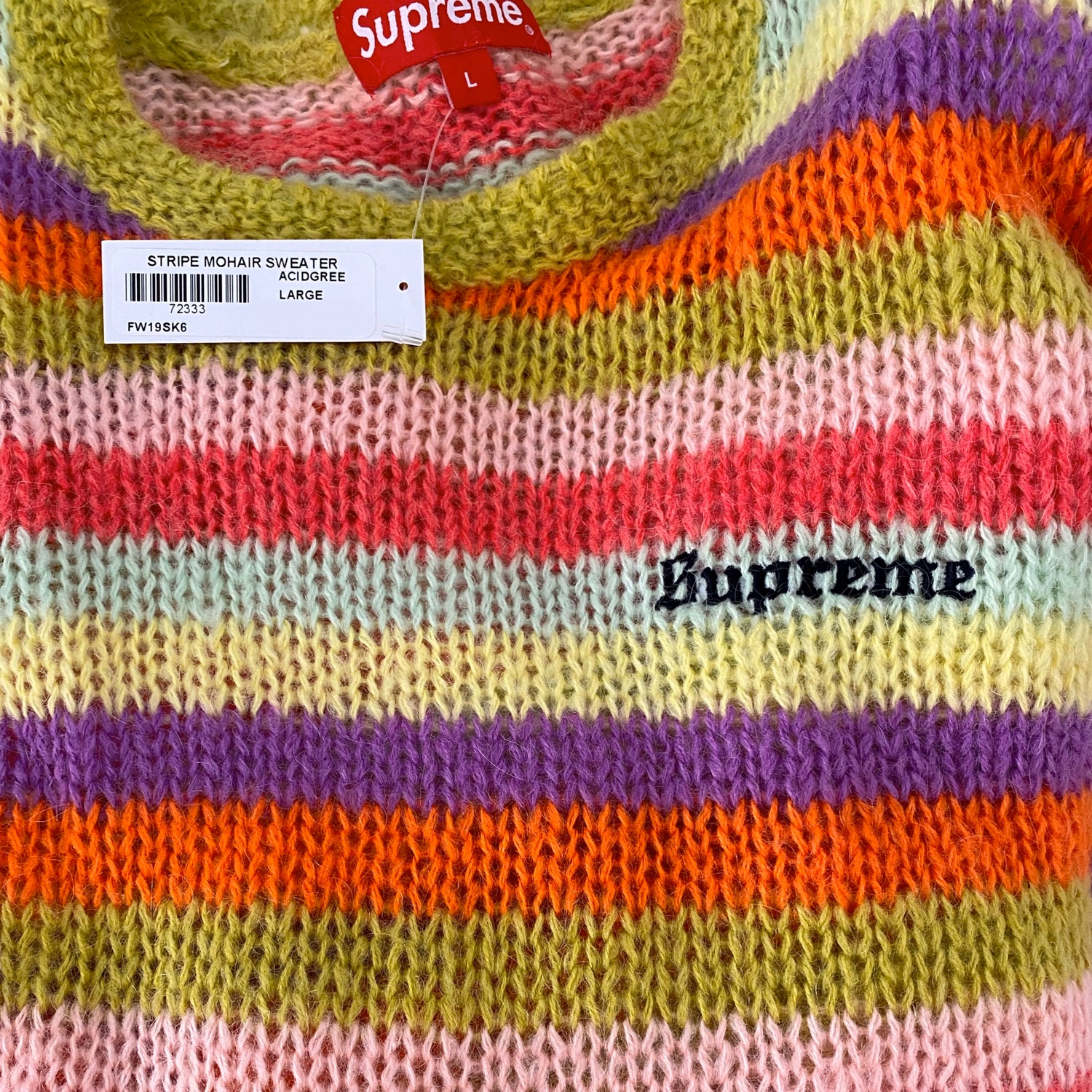 Supreme Stripe Mohair Sweater Acid Green