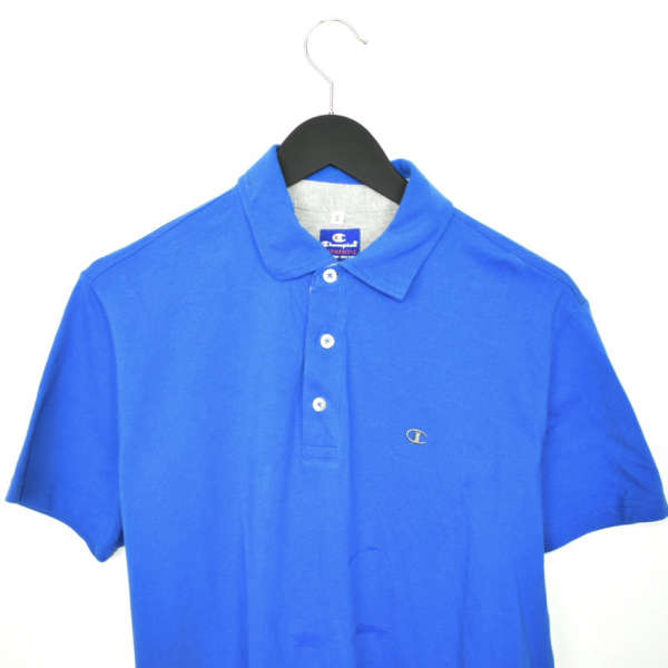 Vintage Champion polo shirt t-shirt in blue