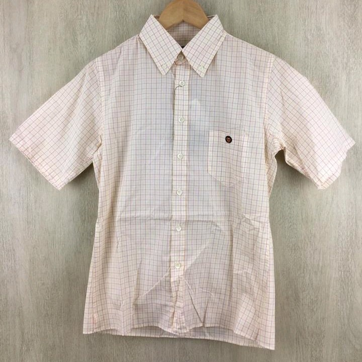 Bape Shirts Beige Short Sleeves Checkered Pattern
