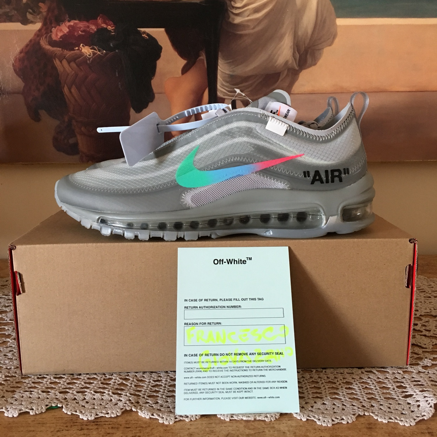 """Nike X Off White """"The Ten</p>                     </div>   <!--bof Product URL --> <!--eof Product URL --> <!--bof Quantity Discounts table --> <!--eof Quantity Discounts table --> </div>                        </dd> <dt class="""