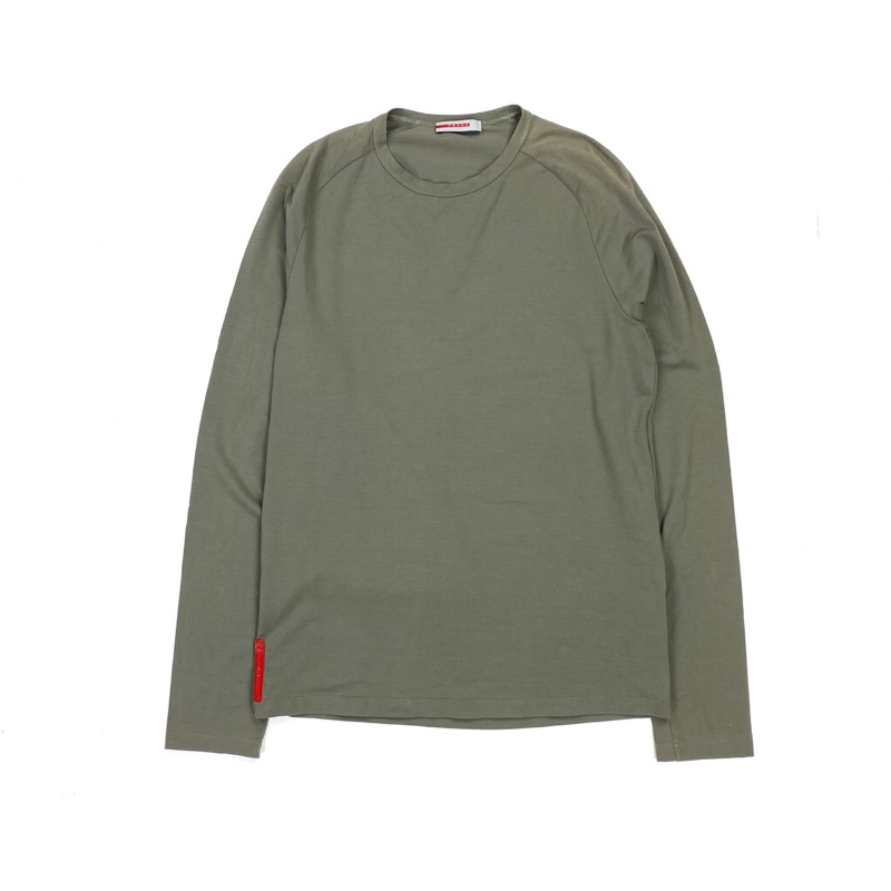 PRADA KHAKI LONGSLEEVE STRETCH NYLON TOP