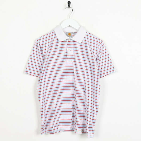 Vintage CARHARTT Small Logo Striped Polo Shirt Top White Red Blue | Small S
