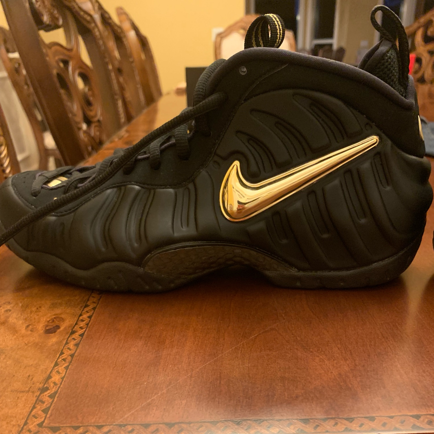 low priced af253 1a557 Nike Air Foamposite Pro Black Metallic Gold Size 9