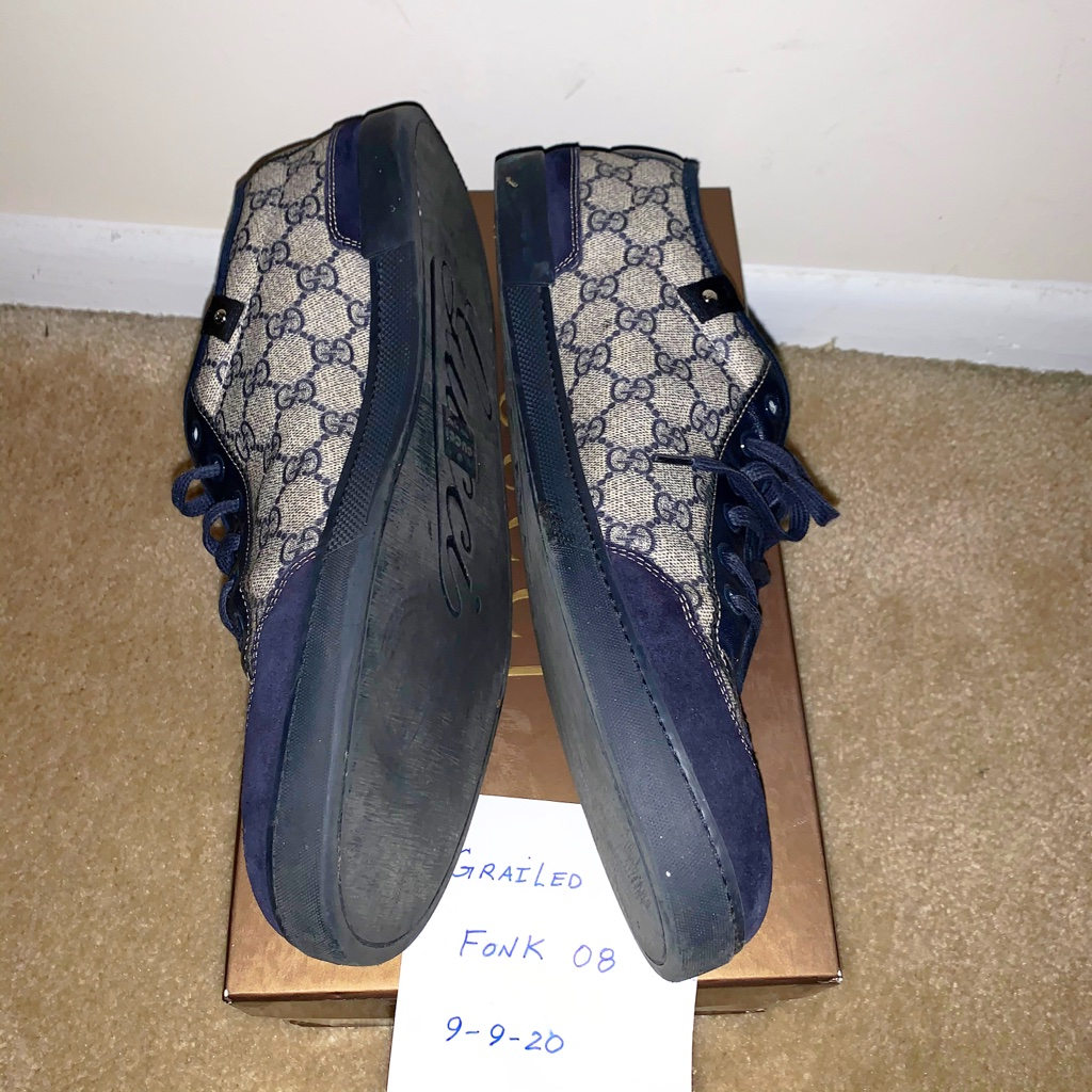Gucci Navy Supreme Canvas Low Top Sneakers Size 13