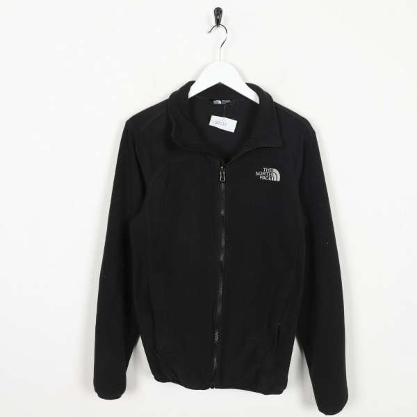 Vintage THE NORTH FACE Small Logo Zip Up Fleece Top Black XS