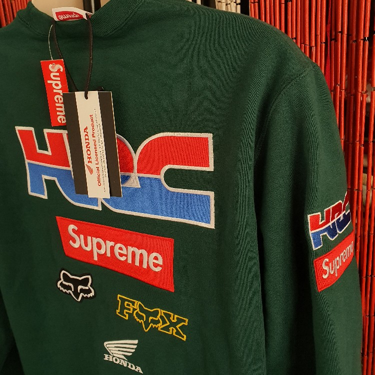 FW19 Supreme x Honda x Fox racing crewneck