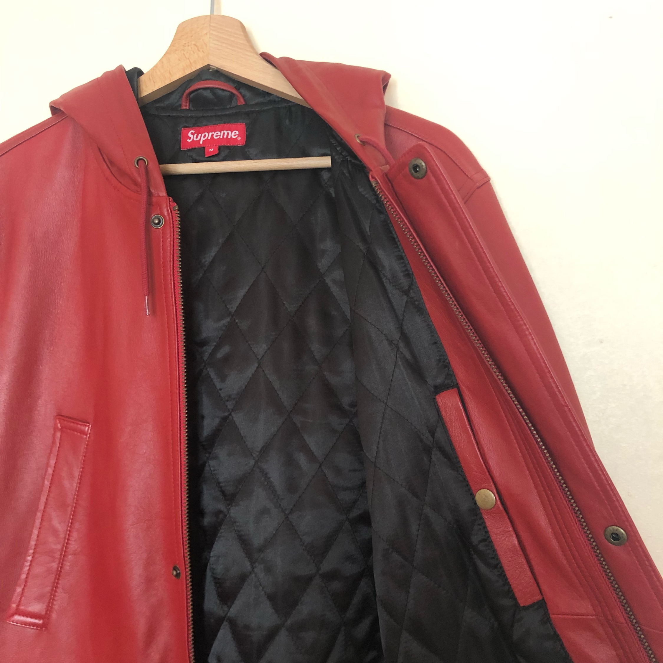 Supreme - Hooded Leather Parka Jacket Fw14