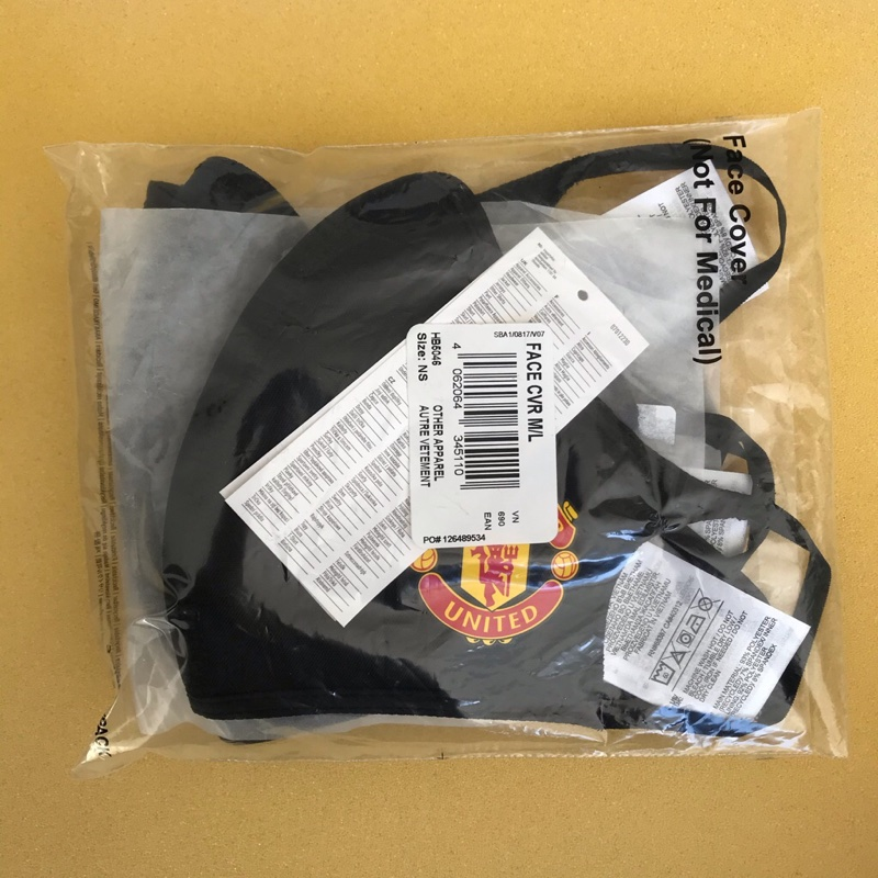 3x Adidas Manchester United Mask Face Cover Size M/L