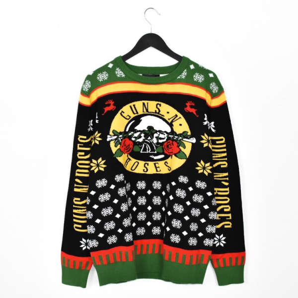 Vintage Guns N' Rosss christmas sweater jumper hoodie pullover sweatshirt top in green yellow red black and white
