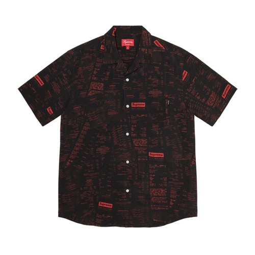 Supreme Receipts Rayon S/S Shirt Black/Red