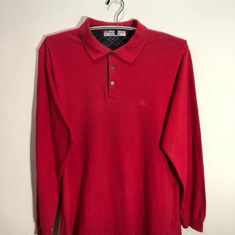 Burberrys Made in England Red Polo T Shirt